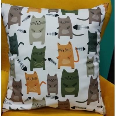 Калъфка за декоративна възглавничка Котки с размер 43/43