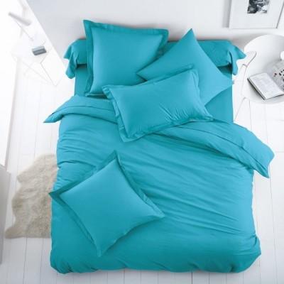 Едноцветен единичен спален комплект ранфорс в светло синьо