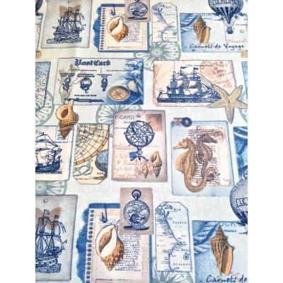 Плат за плътна детска завеса с морски елементи в синьо