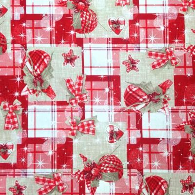 Коледен плат за покривки с панделки и играчки в червено