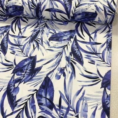 Плат за плътна завеса и дамаска с листа в цвят индиго