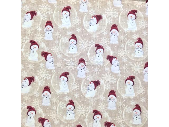 Коледен плат за плътни завеси и покривки Снежен човек