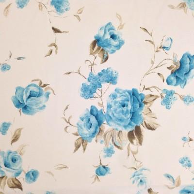 Плат за плътна завеса със сини рози