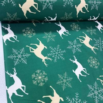 Коледен плат в зелено с елени и снежинки