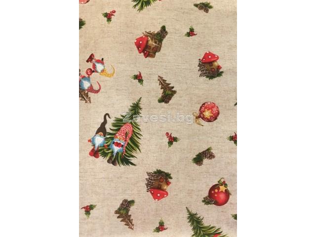 Коледен плат за плътни завеси и покривки с джуджета и елхи