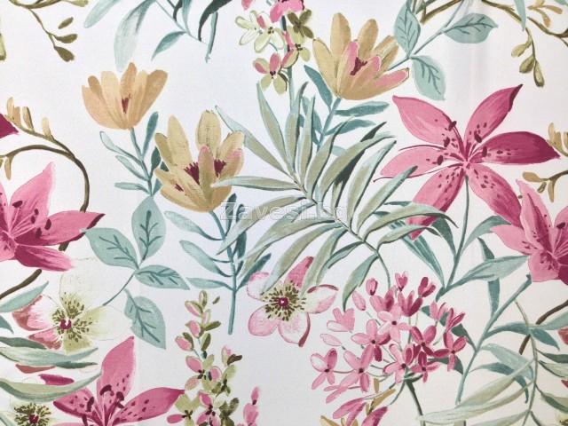 Затъмняващ плат блекаут за плътни завеси на цветя на светло сив фон