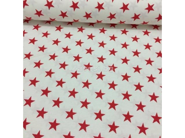 Коледен плат с червени звезди