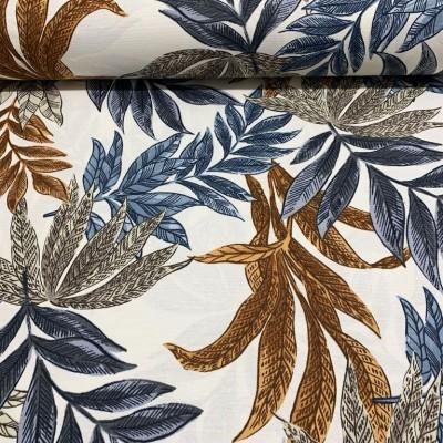 Дамаска с тропически листа в синьо и кафяво