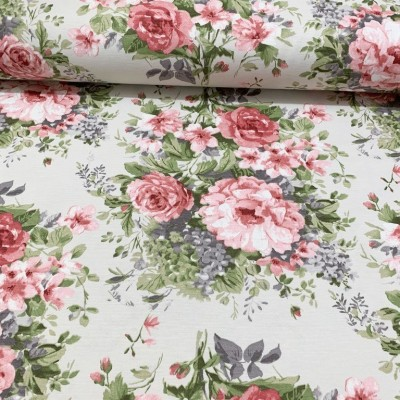 Плат за плътна завеса и дамаска с тефлонирано покритие Рози