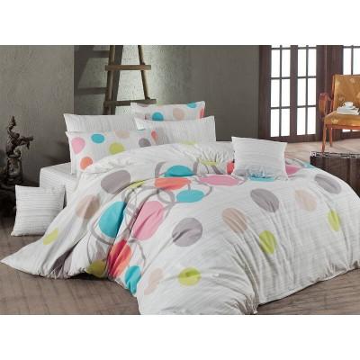 Единичен спален комплект от ранфорс Пойнтс в розово