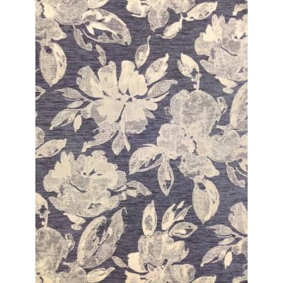 Плат за плътна завеса с цветя на тъмно син фон