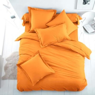 Едноцветен единичен спален комплект ранфорс в оранжево