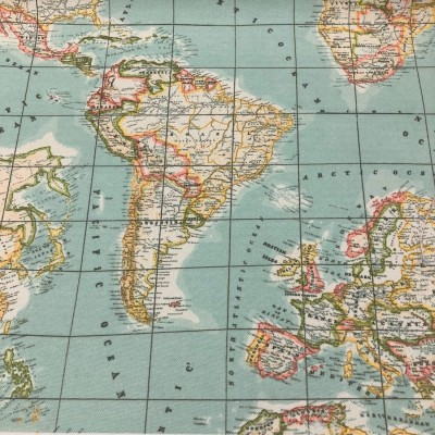 Curtain and upholstery with digital print World Map