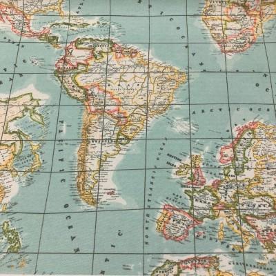 Плат за плътна завеса и дамаска с дигитален печат Карта на света