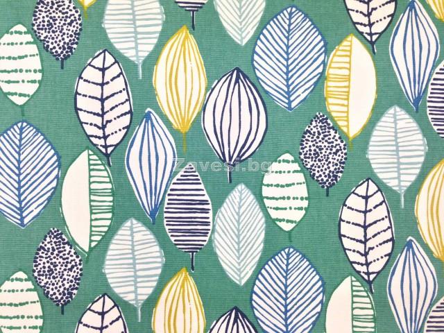 Плат за плътна завеса с листа на зелен фон