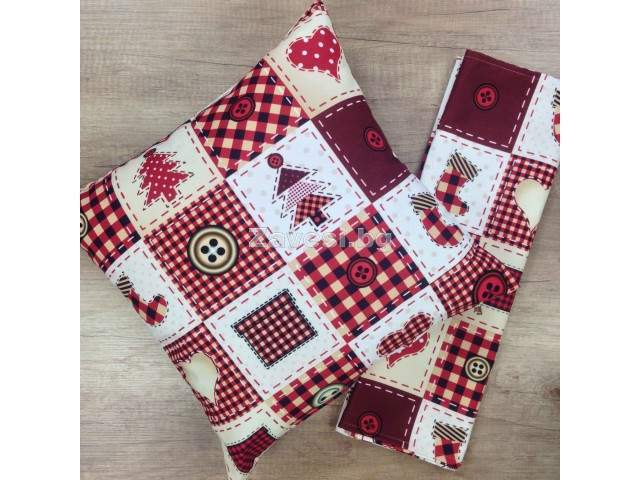 Комплект тишлайфер и възглавничка с каре в червено и бяло
