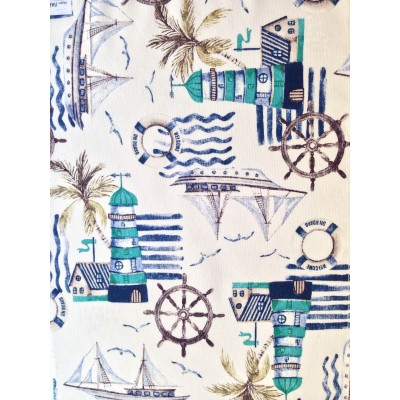 Curtain with maritime elements Lighthouse in turquoise