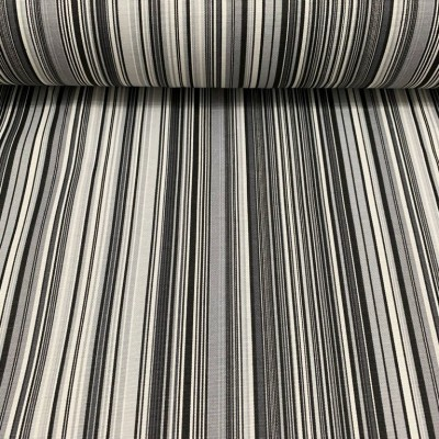 Upholstery with stripes in black and grey
