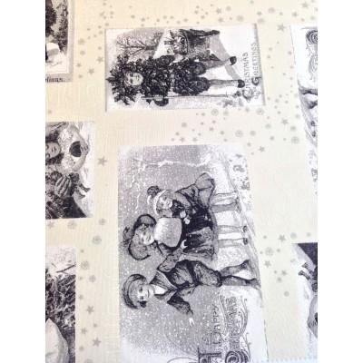 Коледен плат с ангелчета в сиво и бяло
