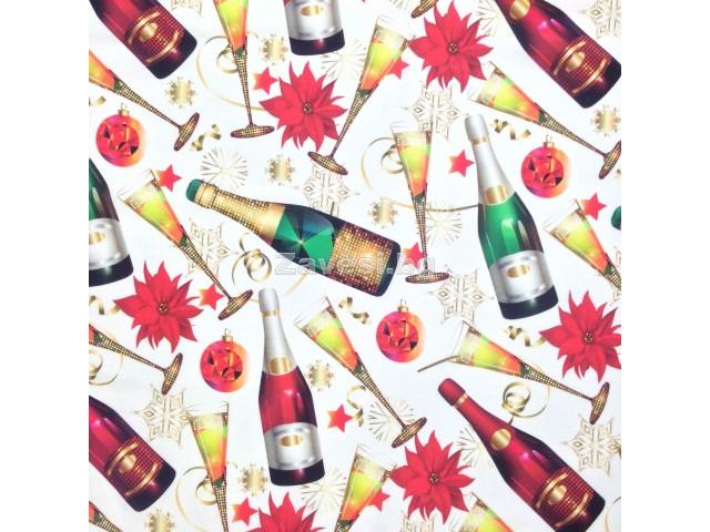 Коледен плат за плътни завеси и покривки Шампанско