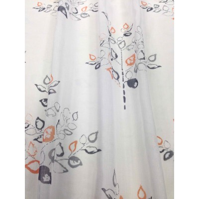 Curtain with leafs in orange and grey on white background