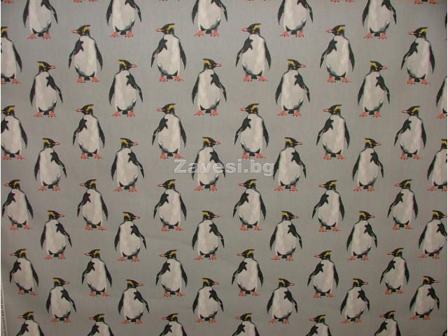 Плат за плътна завеса с Пингвини сив фон