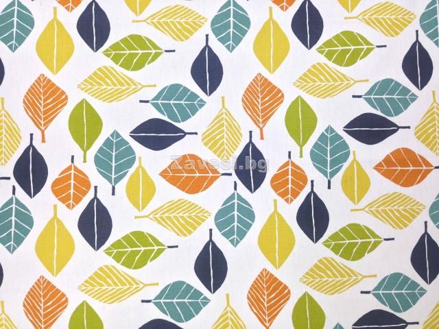 Плат за плътни завеси с шарени листа