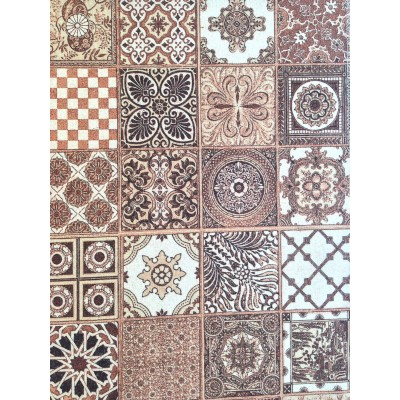 Curtain with spanish tiles in brown