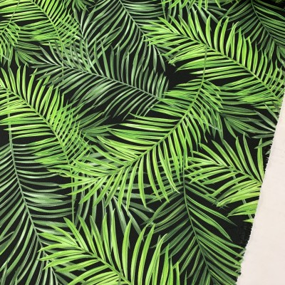 Curtain and upholstery with digital print Palm leaves on black background