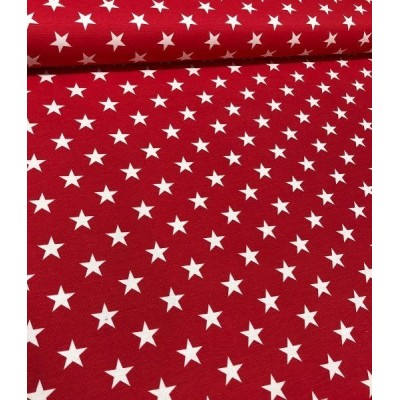 Christmas curtain with white stars on red background