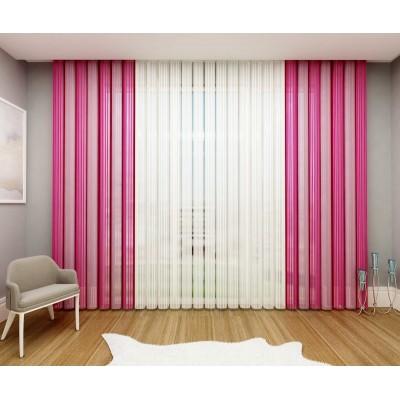 Вертикални щори тип перде в розово и бяло