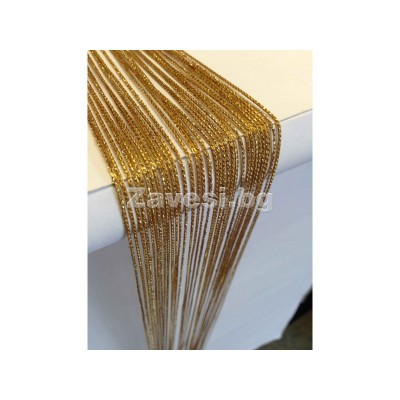 String curtains in gold with gliter width 2m height 2,50m