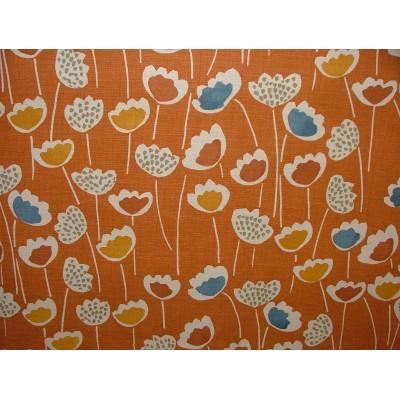 Плат за плътна завеса със стилизирани цветя на оранжев фон