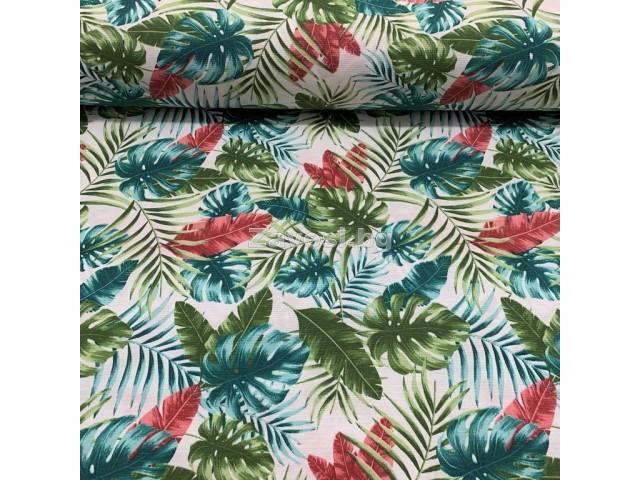 Плат за плътна завеса и дамаска с тропически листа в различни цветове
