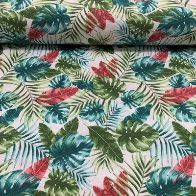 Curtain and upholstery with tropical leaves in many colors