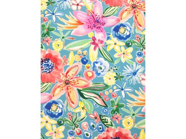Непромокаем текстил за външни условия Outdoor с цветя на син фон