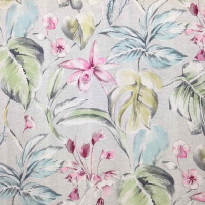 Curtain with tropical leaves and flowers in light colors