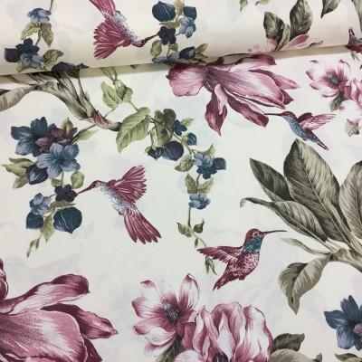 Плат за плътна завеса и дамаска с цветя и птици