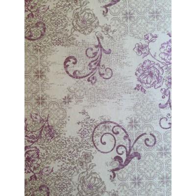 Дамаска с цветя и орнаменти в лилаво