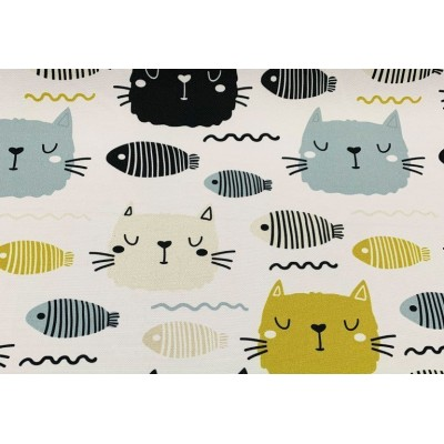Curtain and upholstery Cats and fishes