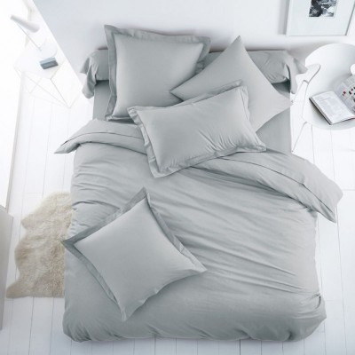 Едноцветен единичен спален комплект ранфорс в сиво