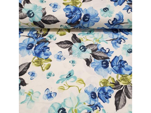 Плат за плътна завеса и дамаска със сини орхидеи