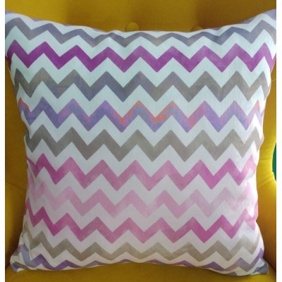 Decorative pillow case Zig zag in pink and purple 43/43