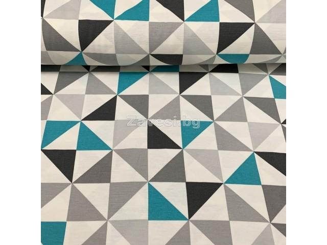 Плат за плътна завеса и дамаска с геометрични форми в синьо и сиво