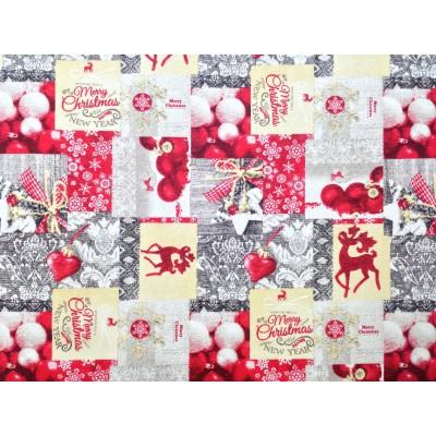 Плат за покривки Коледни играчки в червено и сиво
