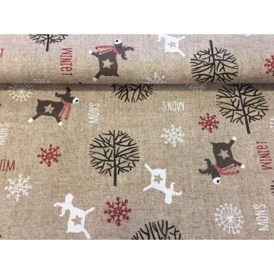 Коледен плат за покривки с еленчета Frozen