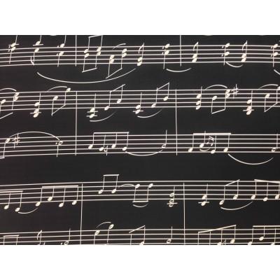 Дамаска с дигитален печат Ноти на черен фон