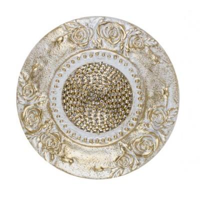 Декоративен кръгъл държач за пердета и завеси с флорални елементи