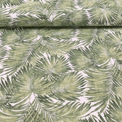 Curtain and upholstery with Tropical leaves in green