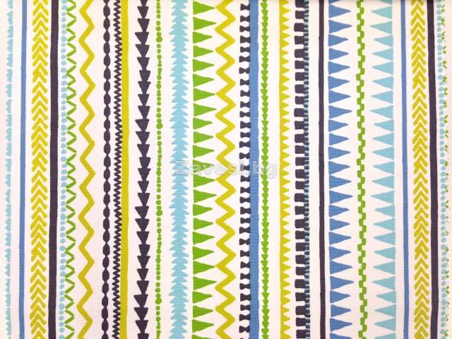 Плат за плътна завеса с десен райе в жълто, синьо и зелено